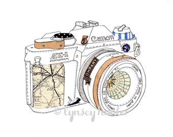 Canon AE-1 SLR camera - Ink and collage illustration