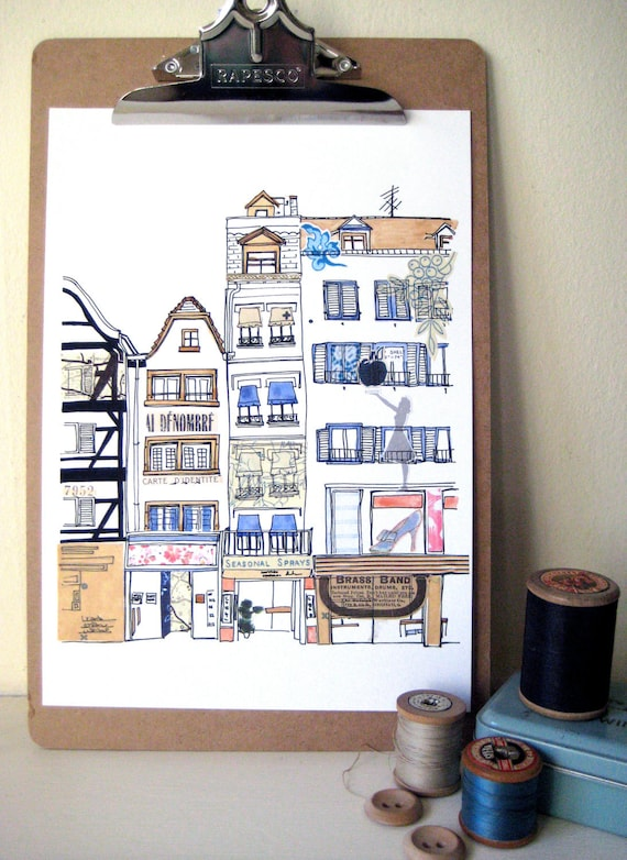 French Boutiques Original Illustration - Ink, watercolour and collage