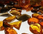 2 oz. - Vintage Czech Glass Topaz Toned Faceted Gemstones