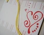 Set of 6, Love Fizz Letterpress Gift Tags