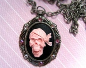 Girly Pirate Sparkle- Acrylic Skull Cameo Pendant with Crystals