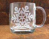 Snowflake Etched Glass Coffee Mug