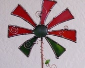 Stained Glass and copper Garden ARt Stake Red Green Original Unique OOAK