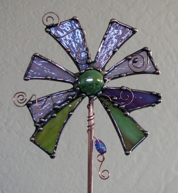 Stained Glass Copper art Garden Plant STake succulent decoration purple sage