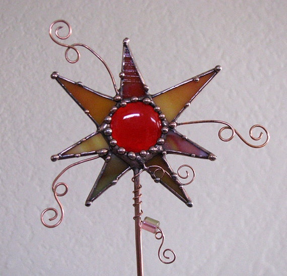 Stained Glass and Copper Art Funky garden plant stake indoor outdoor orange colorful