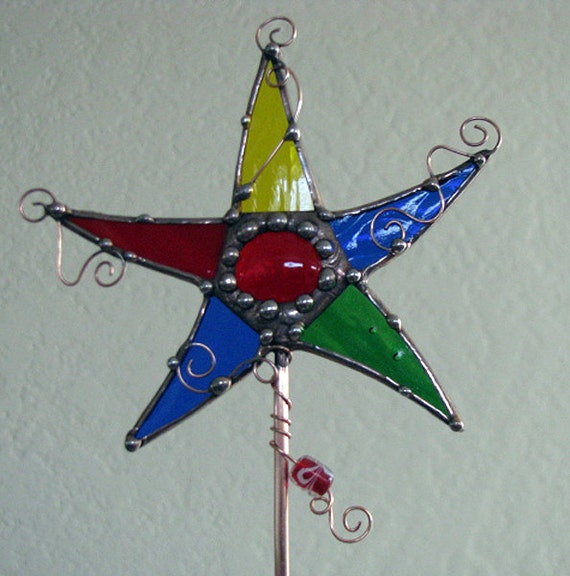 Primary colors stained glass Magic Wand Star Plant Garden STake copper art