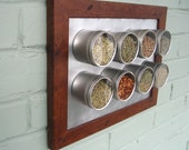 spicelab magnetic spice rack with 8 round containers. medium brown frame.