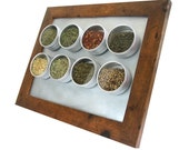 spicelab small magnetic spice rack in light brown rustic wood finish. a perfect housewarming gift.