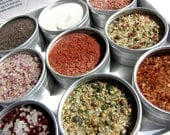 large gourmet artisanal salts kit. fifteen 53 mm containers. add savory flavor to your baking and cooking.
