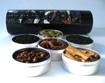 small chai tea kit with recipe. organic and fair trade spices.