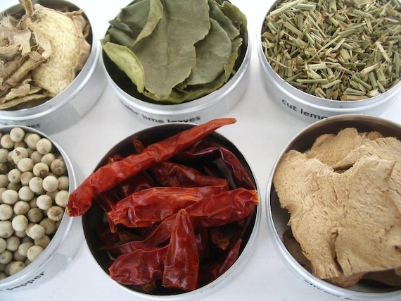 small thai spice kit with recipes. savor the fragrant flavors of thailand.