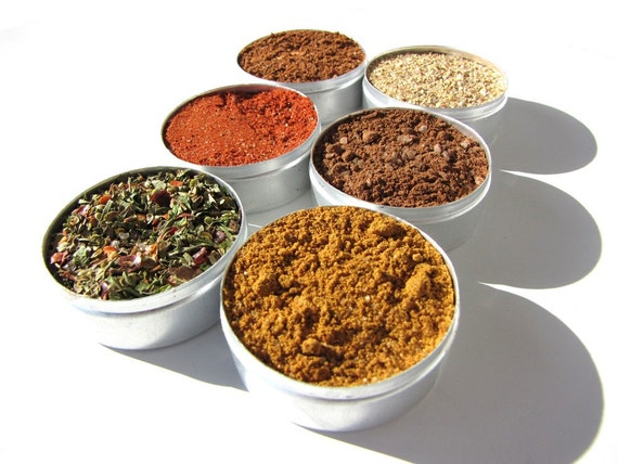 Gourmet BBQ rubs kit for chicken and pork - gift set of six - be the master of the BBQ.