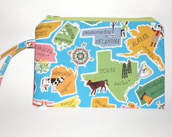 Zippered Wristlet Pouch---This Land Is Your Land