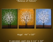 Original Large Abstract Painting Modern Contemporary ... Ready 2 hang ...48 x 20 .. Balance of Nature