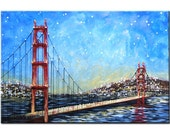 Golden Gate Bridge - 24 x 36, acrylic on canvas, gallery wrapped, sides painted and ready to hang, ORIGINAL - One of a kind -  for Brigette