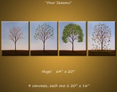 """Original Large 4 piece Painting Modern Contemporary Trees Seasons ... ready 2 hang ... 64"""" x 20"""" .. Four Seasons, by Amy Giacomelli"""