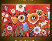 Amy Giacomelli Wall Painting Modern Contemporary Floral .. red yellow blue green black ... 24 x 36