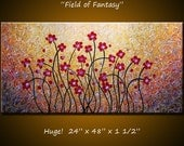 Original Large Abstract Textured Painting Modern Contemporary Flowers Impasto ... 24 x 48 ... by Amy Giacomelli