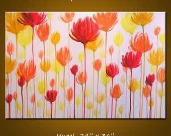 "Art Painting Wall Original Modern Contemporary Abstract Floral Painting Decor ... 24"" x 36"" ... red yellow orange ... Simple Pleasures"