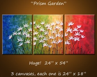 Art Painting Triptych Original Large Abstract Painting Modern Flowers Wall Decor Rainbow colors ...24 x 54 .. Prism Garden
