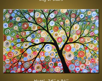 "Art Painting 36"" Large Abstract Painting Modern Landscape Tree .. red yellow blue green black ... 24 x 36 .. Sky of Stars, by Amy Giacomelli"