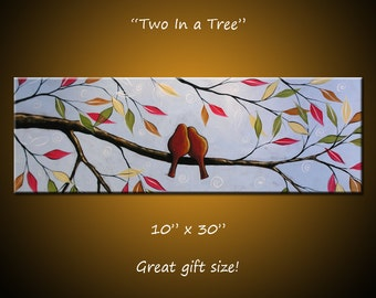 Bird Art Painting Modern Contemporary Trees Birds in a tree, 10 x 30 .. Two In a Tree, Great gift size, wedding gift