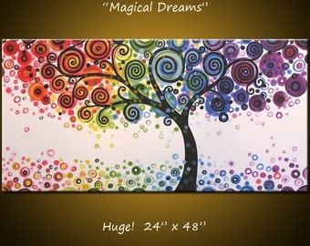 "Rainbow Art Paintings Original Large Abstract Modern Contemporary Tree... Ready to hang ... 24 x 48 .. ""Magical Dreams"""