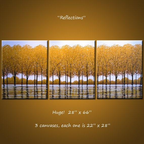 Reflections - 66 x 28, 3 gallery wrapped canvases, ready to hang, ORIGINAL  -  PLEASE SEE CLOSE UPS