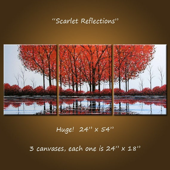 Original Large Abstract Painting Modern Trees Lake Pond .. red blue black ... 54 x 24 .. Scarlet Reflections