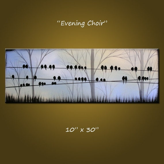 Evening Choir - 10 x 30, acrylic on canvas, gallery wrapped and ready to hang, ORIGINAL...Ready to ship