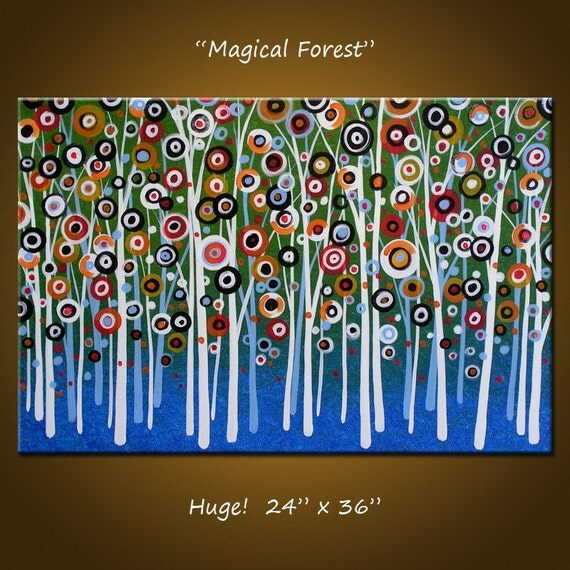 Original Huge Art Modern Paintings Landscape Trees Forest, 24 x 36, ready to hang, Please see close-ups