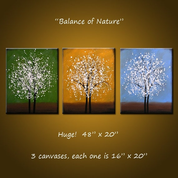 Original Large Abstract Painting Modern Contemporary ... Ready 2 hang ...48 x 20 .. Balance of Nature