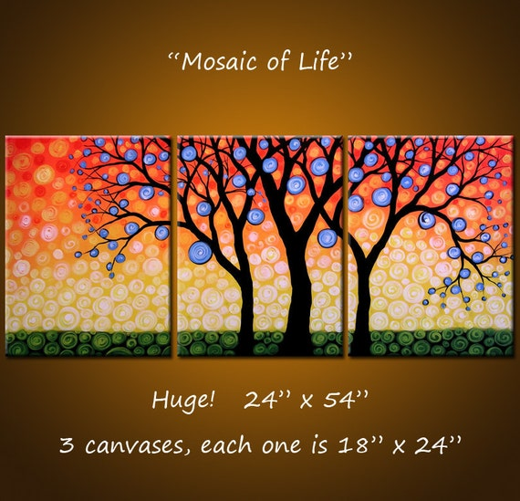 "Original Art Painting Triptych Decor Landscape Huge Large Trees .. 24"" x 54"" .. ""Mosaic of Life"" Make a huge impact in your space"
