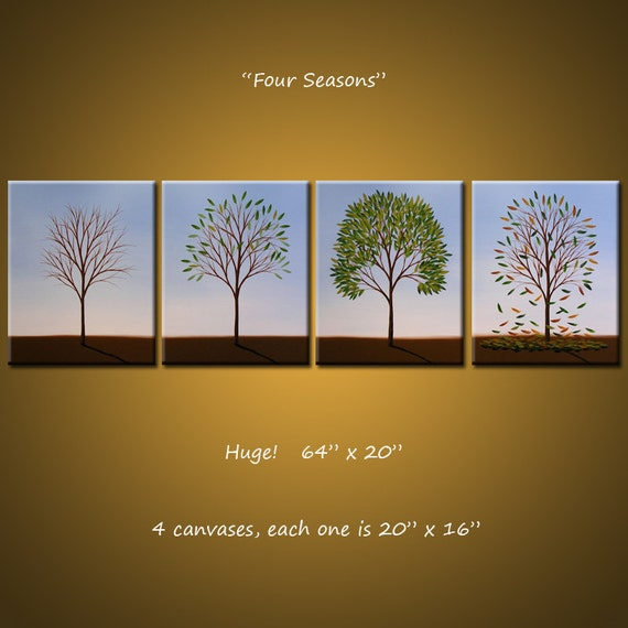 "Original Large 4 piece Painting Modern Contemporary Trees Seasons ... ready 2 hang ... 64"" x 20"" .. Four Seasons, by Amy Giacomelli"