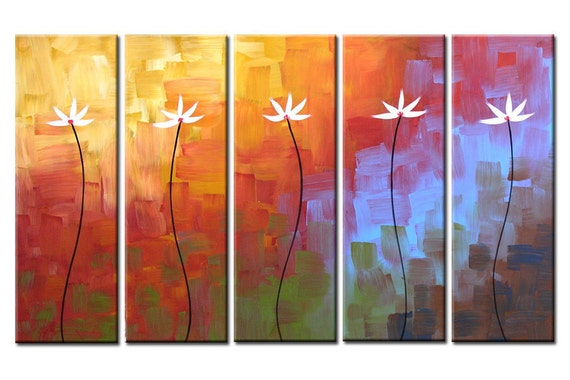 Abstract Floral Art Wall Decoration Rainbow Original Painting Flowers...ready to hang...50 x 30 .. Dreaming Comes Easily