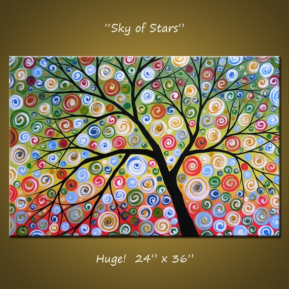 """Art Painting 36"""" Large Abstract Painting Modern Landscape Tree .. red yellow blue green black ... 24 x 36 .. Sky of Stars, by Amy Giacomelli"""