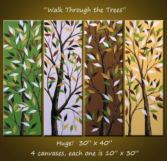 "Art Original Abstract Landscape Trees Paintings Wall Decor Amy Giacomelli - 30 x 40, Arrives ready to hang,  ""Walk through the Trees"""