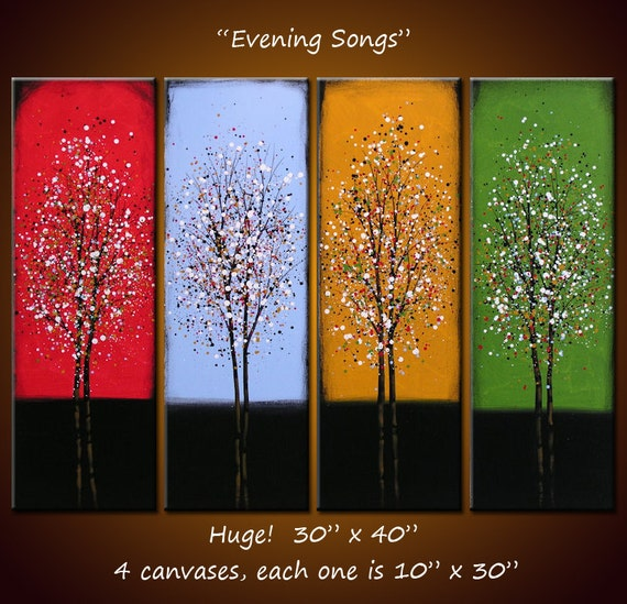 "Art 40"" across Rainbow Wall Art Landscape Original Large Abstract Painting Trees ...red blue yellow green .... Evening Songs"