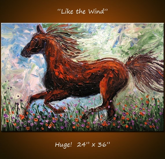 Original Large Abstract Painting Impasto Textured Modern Contemporary Horse .... 24 x 36 ... Like the Wind, plz c close ups