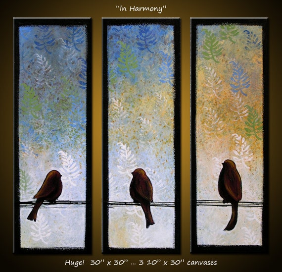 Painting Large Abstract Original Modern Contemporary Birds ... 30 x 30 ...In Harmony, by Amy Giacomelli
