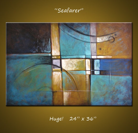 """Abstract Art Painting Original Large Modern Art Wall Decor Unique Art to display... 24"""" x 36"""" ... Seafarer, by Amy Giacomelli"""
