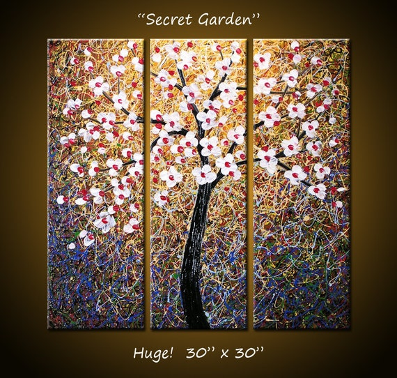 """Original Large Abstract Textured Painting Flowers Impasto ... 30 x 30 ... """"Secret Garden"""" by Amy Giacomelli"""