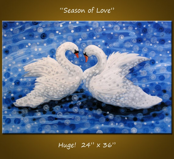 Original Large Birds Painting Modern Contemporary ...24 x 36 ... Season of Love