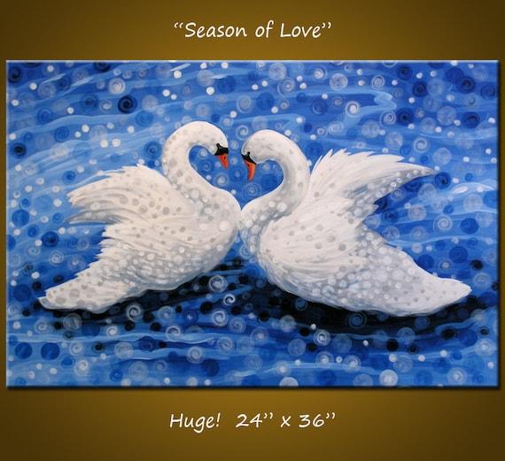 Original Large Birds Painting Modern Contemporary ...24 x 36 ... Season of Love