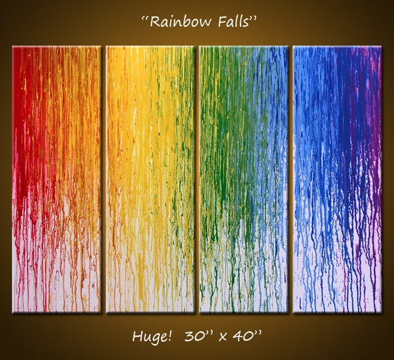 "Abstract Art Rainbow Painting Original Large Modern Art Wall Decor ... 30"" x 40"", 4 ready to hang canvases, Rainbow Falls"