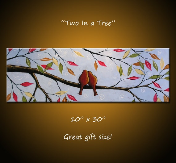 Original Large Abstract Painting Modern Contemporary Trees Birds, 10 x 30 .. Two In a Tree, ready to ship
