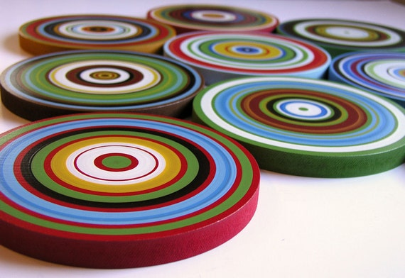 "Original Modern Wall Art Sculpture wood circles - 9 piece set ... ""Color Dreams"" by Amy Giacomelli"