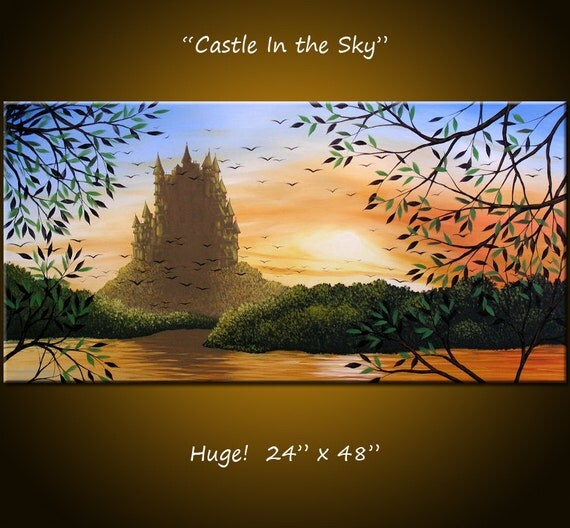 """Original Large Abstract Painting Modern Contemporary .... 24 x 48 ... """"Castle In the Sky"""", by Amy Giacomelli"""