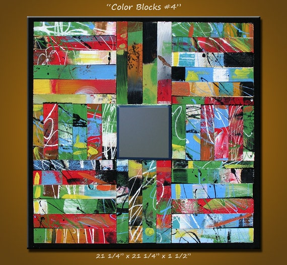 "Abstract Sculpture Painting Art Mirror, ready to hang, Please see close-ups, ""Color Blocks 4"""