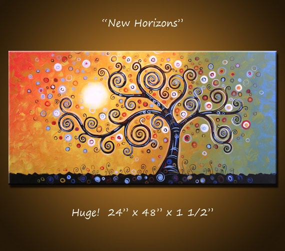 "Original Large Abstract Painting Modern Contemporary .... 24"" x 48"" ... ""New Horizons"", by Amy Giacomelli"